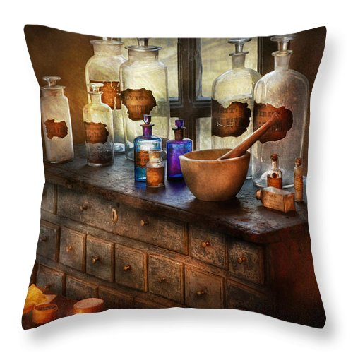 Doctor Throw Pillow featuring the photograph Pharmacist - Medicinal Equipment by Mike Savad