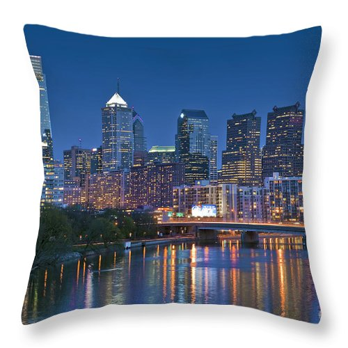 Phila. Pa Throw Pillow featuring the photograph Phila Pa Night Skyline Reflections Center City Schuylkill River by David Zanzinger