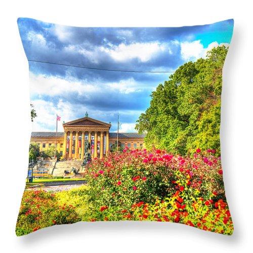 Philadelphia Throw Pillow featuring the photograph Philadelphia Art Museum 5 by Constantin Raducan