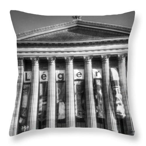Philadelphia Throw Pillow featuring the photograph Philadelphia Art Museum Back 2 Bw by Constantin Raducan