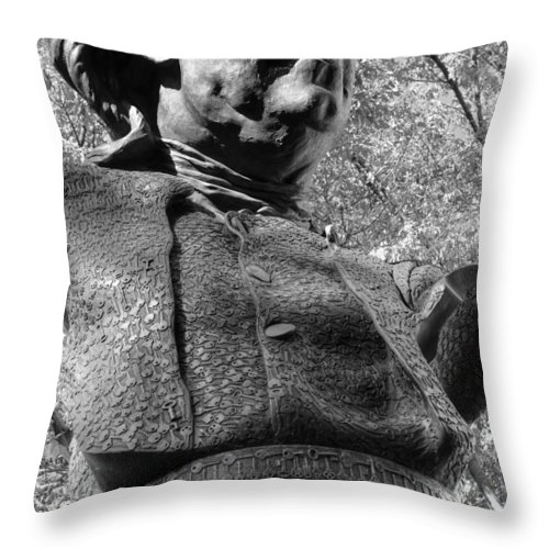 Philadelphia Throw Pillow featuring the photograph Philadelphia Benjamin Franklin Bust 2bw by Constantin Raducan
