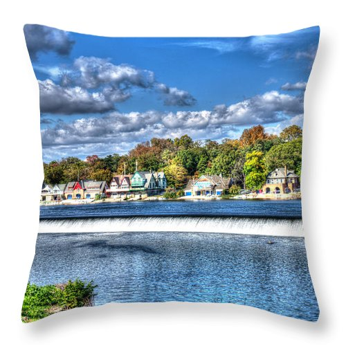 Philadelphia Throw Pillow featuring the photograph Philadelphia Boat House Row 3 by Constantin Raducan