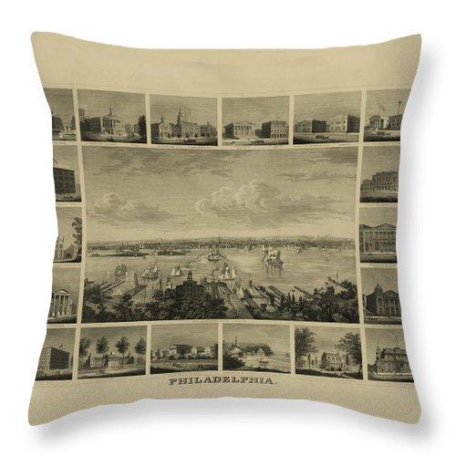 Philadelphia Throw Pillow featuring the digital art Philadelphia By J Serz by Bill Cannon