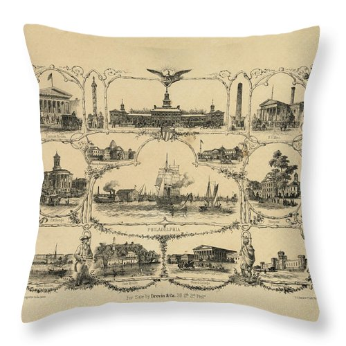 1856 Throw Pillow featuring the digital art Philadelphia By James Fuller Queen by Bill Cannon