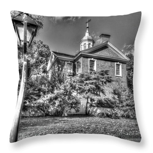 Philadelphia Throw Pillow featuring the photograph Philadelphia Carpenter's Hall East Side 4 Bw by Constantin Raducan