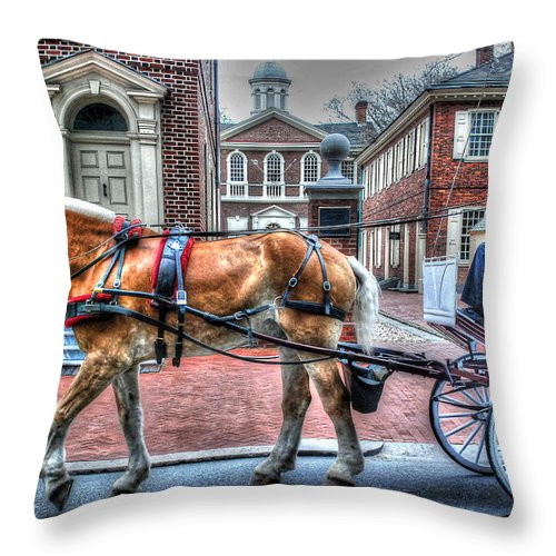 Philadelphia Throw Pillow featuring the photograph Philadelphia Carpenter's Hall Front View And Horse by Constantin Raducan