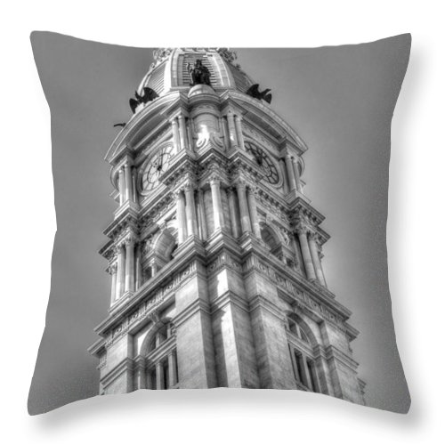 Philadelphia Throw Pillow featuring the photograph Philadelphia City Hall Tower Bw by Constantin Raducan