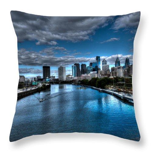 Philadelphia Cityscape Throw Pillow featuring the photograph Philadelphia Cityscape 2 by Constantin Raducan