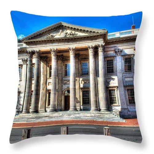 Philadelphia Throw Pillow featuring the photograph Philadelphia First Bank by Constantin Raducan