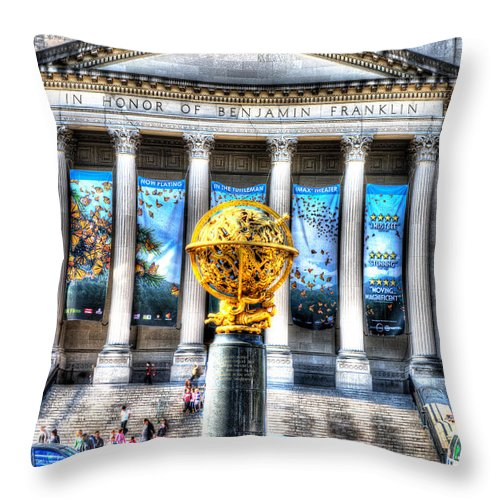 Philadelphia Throw Pillow featuring the photograph Philadelphia Franklin Museum by Constantin Raducan