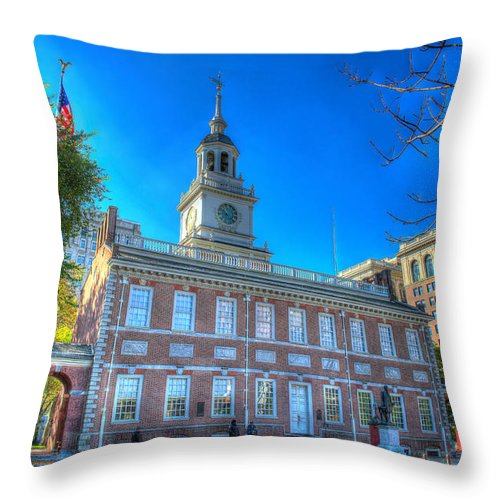 Philadelphia Throw Pillow featuring the photograph Philadelphia Independence Hall 9 by Constantin Raducan