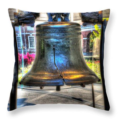 Philadelphia Throw Pillow featuring the photograph Philadelphia Liberty Bell 1 by Constantin Raducan