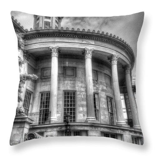 Philadelphia Throw Pillow featuring the photograph Philadelphia Merchants Exchange Bw by Constantin Raducan