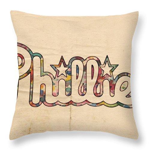 Philadelphia Phillies Throw Pillow featuring the painting Philadelphia Phillies Poster Art by Florian Rodarte