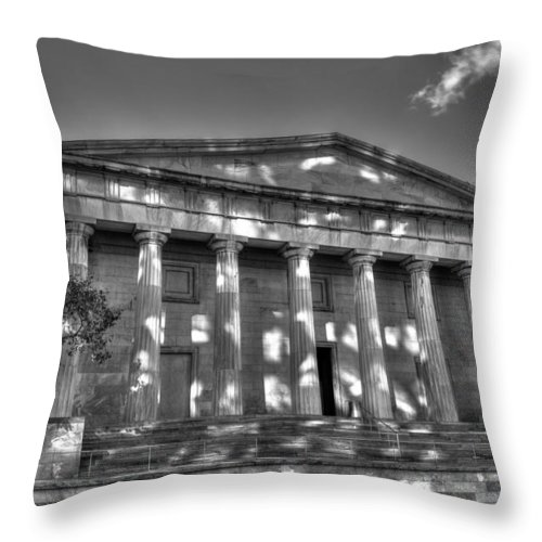 Philadelphia Throw Pillow featuring the photograph Philadelphia Second Bank Bw by Constantin Raducan