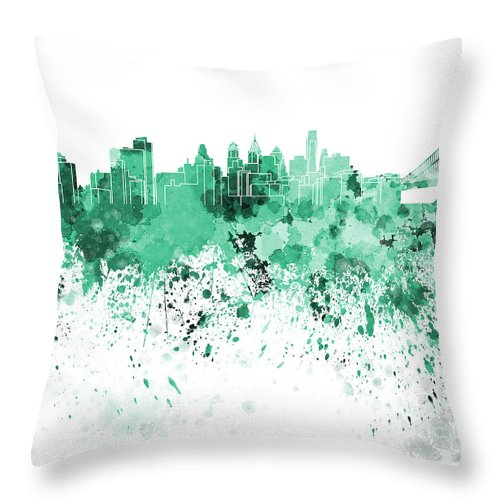 Philadelphia Skyline Throw Pillow featuring the painting Philadelphia Skyline In Green Watercolor On White Background by Pablo Romero