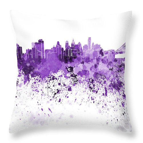 Philadelphia Skyline Throw Pillow featuring the painting Philadelphia Skyline In Purple Watercolor On White Background by Pablo Romero