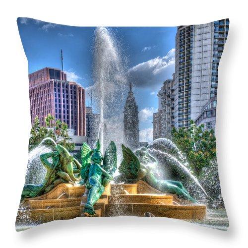 Philadelphia Throw Pillow featuring the photograph Philadelphia Swan Fountain 1 by Constantin Raducan