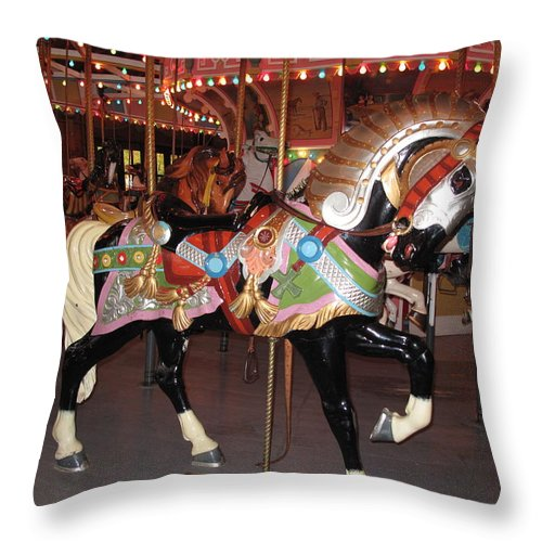 Carousel Throw Pillow featuring the photograph Philadelphia Toboggan Co Number 80 by Barbara McDevitt