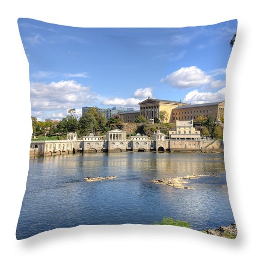 Philadelphia Water Works Throw Pillow featuring the photograph Philadelphia Water Works And Art Museum 11 by Constantin Raducan