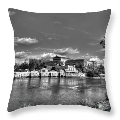 Philadelphia Throw Pillow featuring the photograph Philadelphia Water Works And Art Museum 2 Bw by Constantin Raducan