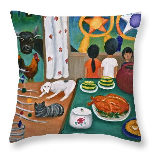 Philippine Christmas Throw Pillow featuring the painting Philippine Christmas 2 by Victoria Lakes