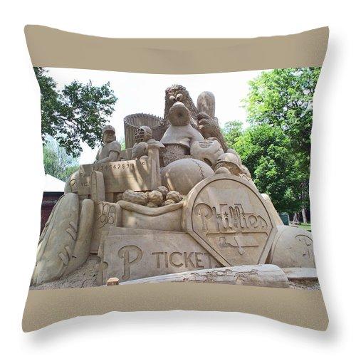 Phillies Throw Pillow featuring the photograph Phillies Sandsculpture by Barbara McDevitt