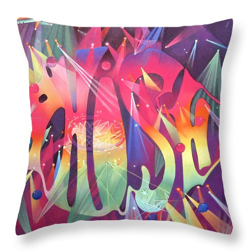 Phish Throw Pillow featuring the drawing Phish The Mother Ship by Joshua Morton