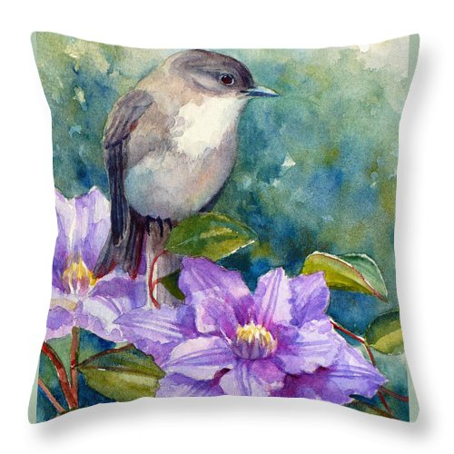 Bird Print Throw Pillow featuring the painting Phoebe And Clematis by Janet Zeh