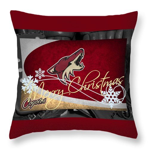 Coyotes Throw Pillow featuring the photograph Phoenix Coyotes Christmas by Joe Hamilton