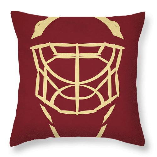 Coyotes Throw Pillow featuring the photograph Phoenix Coyotes Goalie Mask by Joe Hamilton