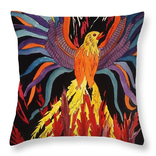 Phoenix Rising Throw Pillow featuring the painting Phoenix Rising by Ellen Levinson