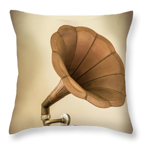 Music Throw Pillow featuring the photograph Phonograph Record Player by Gary S Chapman