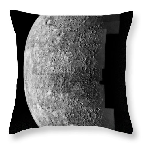 Vertical; Outdoors; Day; Black Background; Mercury; Astronomy; Planet; Space Exploration; Mariner 10; Grey; Collage; Incomplete; Space; Crater; Texture Throw Pillow featuring the photograph Photo Mosaic Of Images Of Mercury by Anonymous