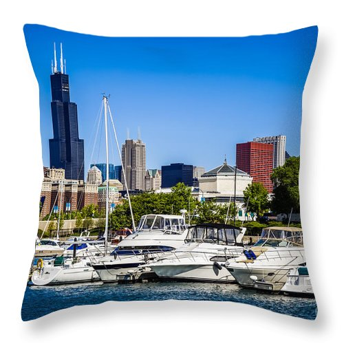 America Throw Pillow featuring the photograph Photo Of Chicago Skyline With Burnham Harbor by Paul Velgos