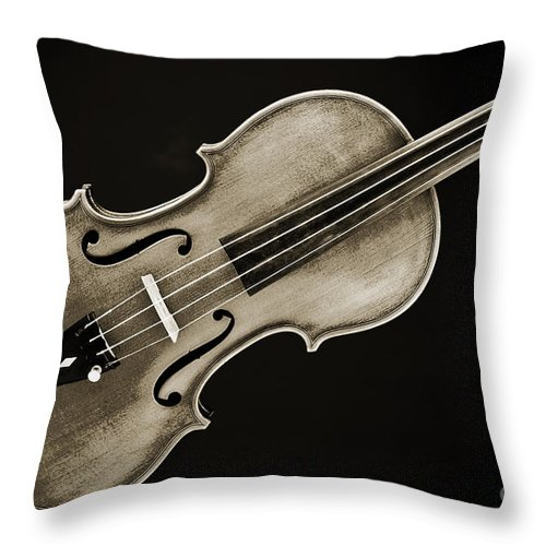 Violin Throw Pillow featuring the photograph Photograph Of A Complete Viola Violin In Sepia 3370.01 by M K Miller
