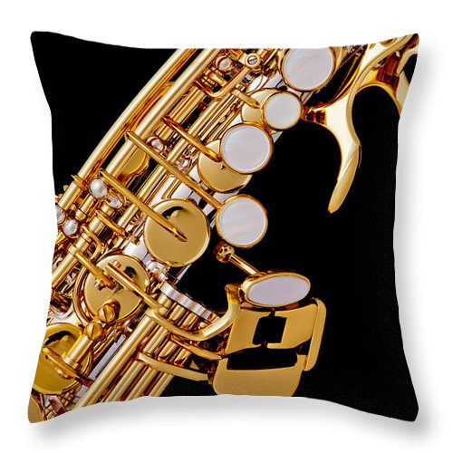 Soprano Sax Throw Pillow featuring the photograph Photograph Of A Soprano Saxophone Color 3355.02 by M K Miller