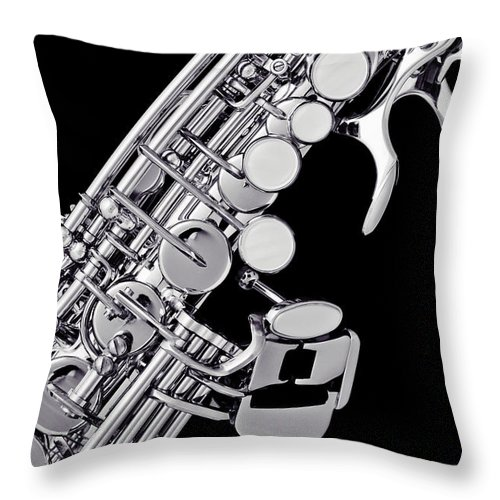 Soprano Sax Throw Pillow featuring the photograph Photograph Of A Soprano Saxophone Sepia 3355.01 by M K Miller