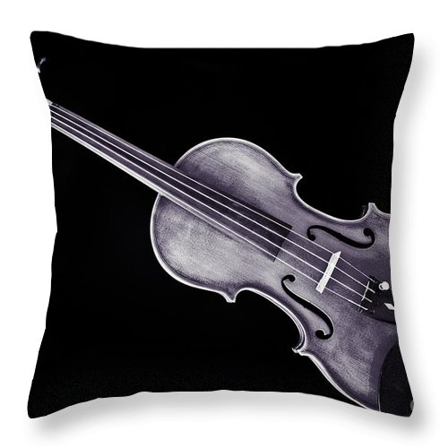 Violin Throw Pillow featuring the photograph Photograph Of A Viola Violin Antique In Sepia 3376.01 by M K Miller