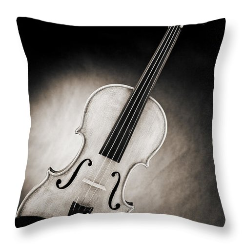 Violin Throw Pillow featuring the photograph Photograph Of A Viola Violin Spotlight In Sepia 3375.01 by M K Miller