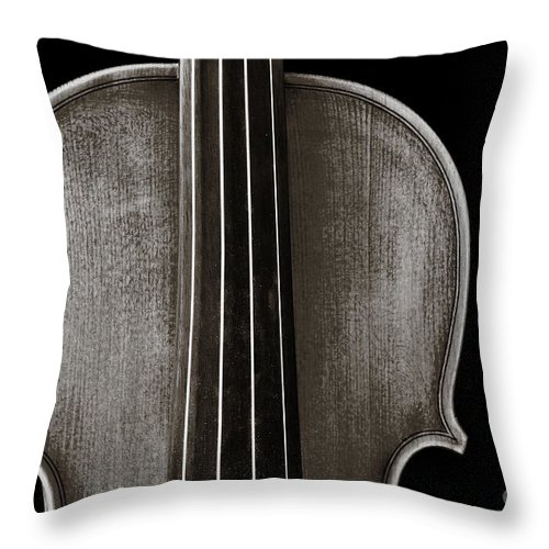 Violin Throw Pillow featuring the photograph Photograph Or Picture Violin Viola Body In Sepia 3367.01 by M K Miller