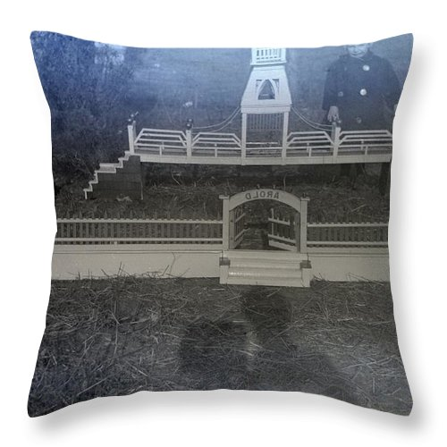 Vintage Photographs Throw Pillow featuring the photograph Photographers Shadow by William Haggart