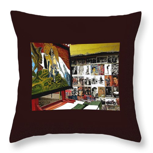 Photographer's Stand Us-mexico Border Town Nogales Sonora Mexico 2003 Throw Pillow featuring the photograph Photographer's Stand Us-mexico Border Town Nogales Sonora Mexico 2003 by David Lee Guss