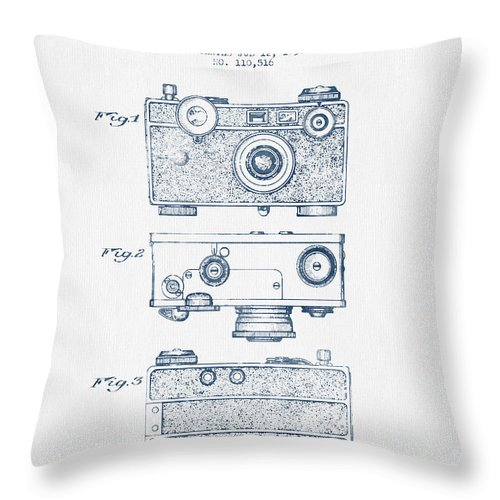 Photographic Camera Patent Drawing From 1938 Blue Ink Throw Pillow For Sale By Aged Pixel