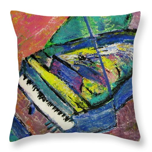 Piano Throw Pillow featuring the painting Piano Blue by Anita Burgermeister