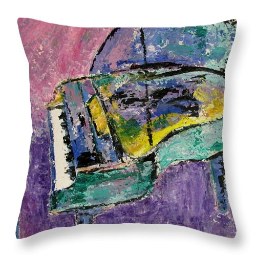 Impressionist Throw Pillow featuring the painting Piano Green by Anita Burgermeister