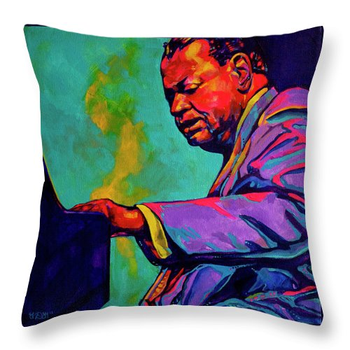 Acrylic Throw Pillow featuring the painting Piano Player by Derrick Higgins