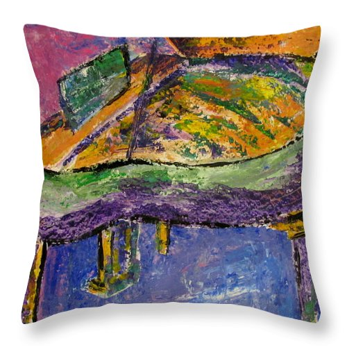 Impressionist Throw Pillow featuring the painting Piano Purple by Anita Burgermeister