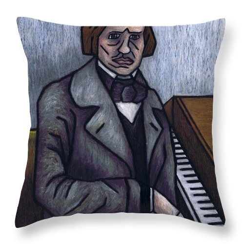 Chopin Throw Pillow featuring the painting Piano's Finest Poet Fryderyk Chopin by Kamil Swiatek