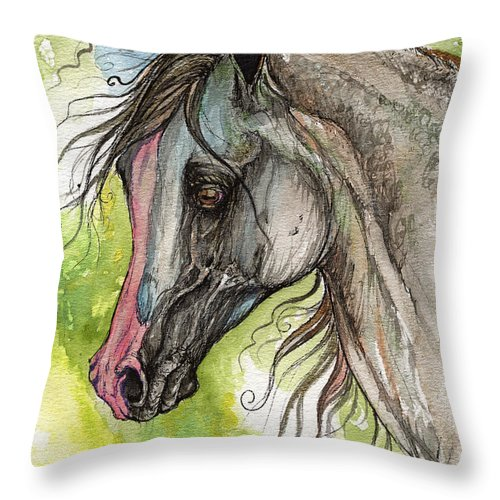 Horse Throw Pillow featuring the painting Piber Polish Arabian Horse Watercolor Painting 3 by Angel Ciesniarska